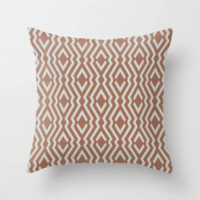 Mint Green and Terracotta Diamond Zig Zag Pattern Behr 2022 Color of the Year Breezeway MQ3-21 Throw Pillow. 2022 color scheme, trending interior design hue.