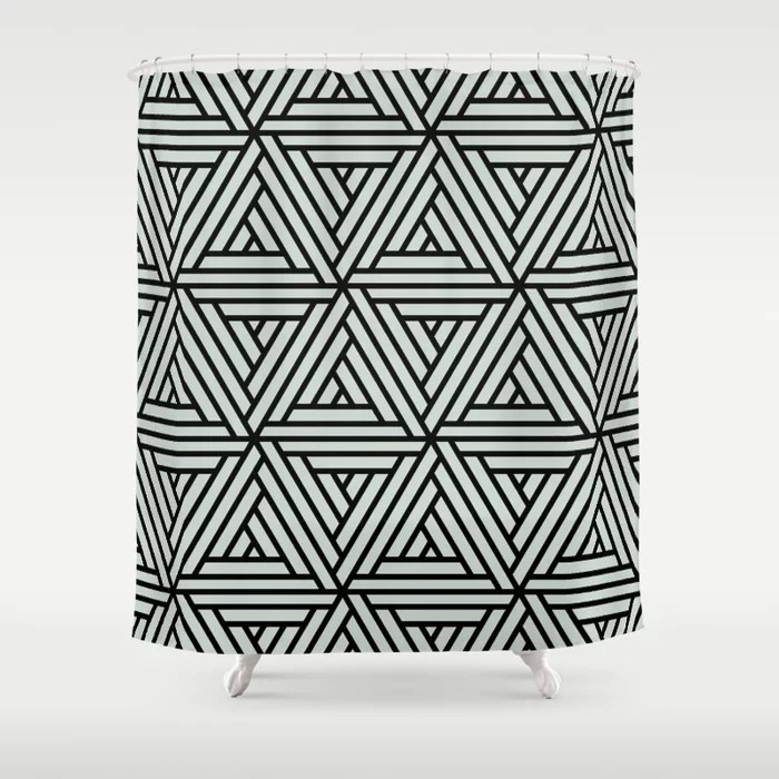 Pastel Green and Black Shape Mosaic Pattern 2 Pairs Behr 2022 Color of the Year Breezeway MQ3-21 Shower Curtain. 2022 color trend