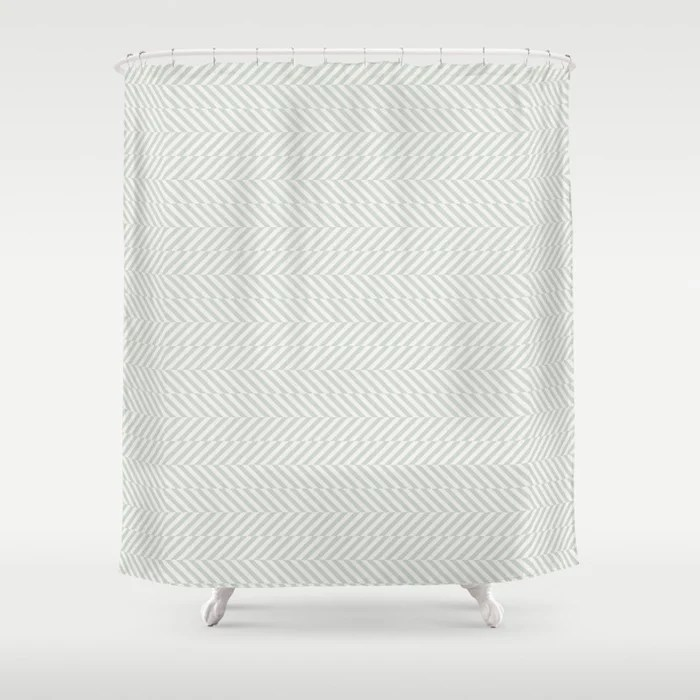 Pastel Green and Cream Stripe Pattern Pairs Behr 2022 Color of the Year Breezeway MQ3-21 Shower Curtain. 2022 color trend