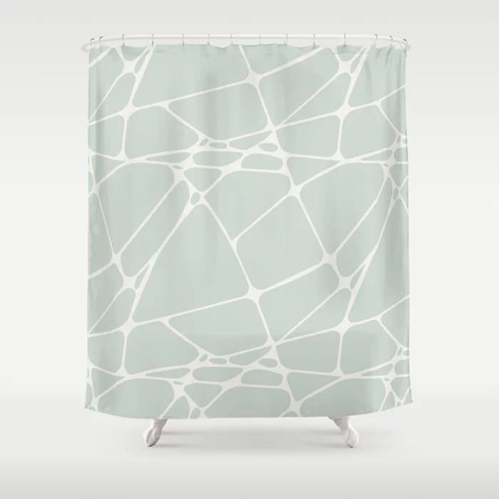 Pastel Green and Cream Abstract Mosaic Pattern 1 Pairs Behr 2022 Color of the Year Breezeway MQ3-21 Shower Curtain. 2022 color trend