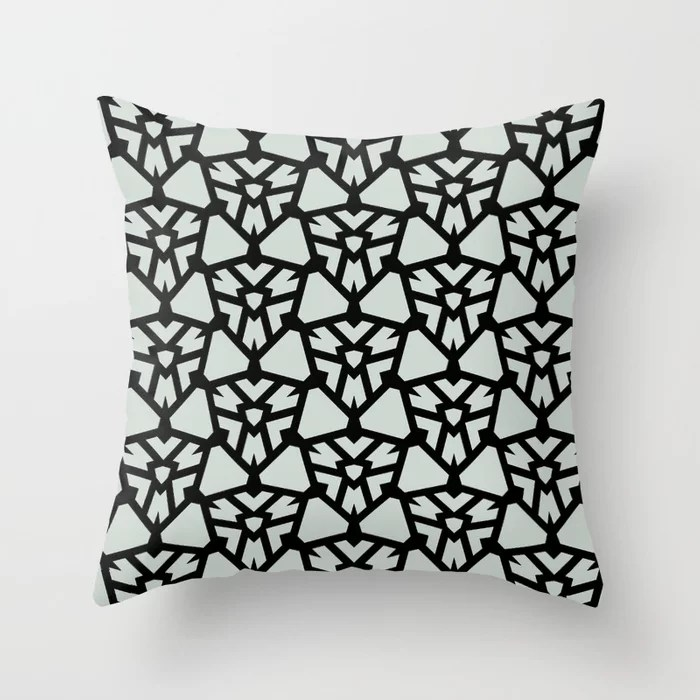 Pastel Green and Black Shield Tile Pattern Pairs Behr 2022 Color of the Year Breezeway MQ3-21 Throw Pillow. 2022 color scheme, trending interior design hue.