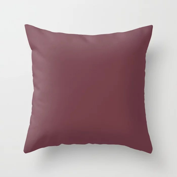 Burgundy Red Trending Solid Color - Hue Throw Pillows inspired by and pairs to (matches / coordinates with) Dutch Boy 2021 Color of the Year Accent Shade Mulberry Tree