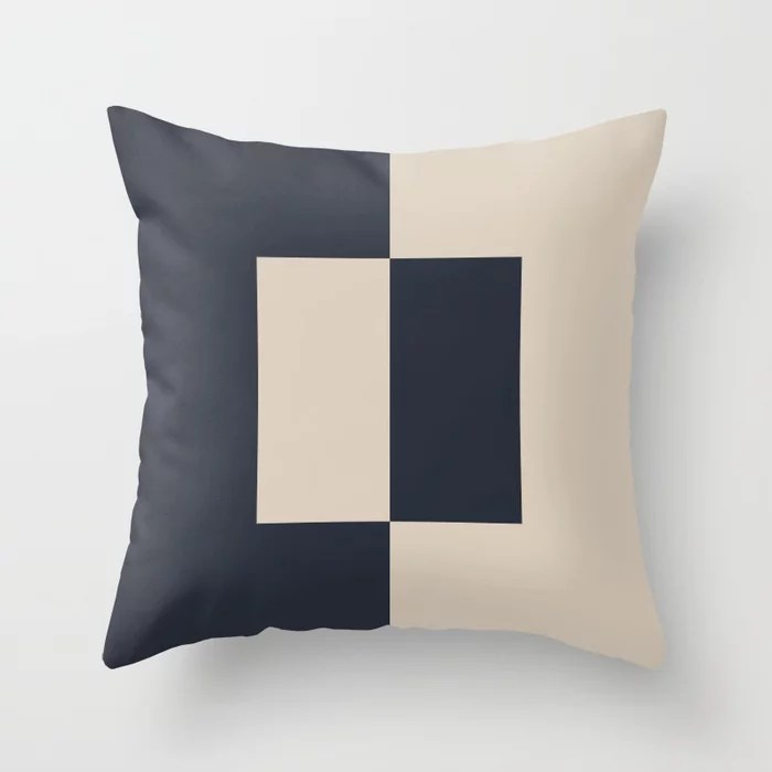 Light Beige and Blue Minimal Square Design: Hues were inspired by and match (pair / coordinate with) 2021 Color of the Year Uptown Ecru and Classic Navy Throw Pillow