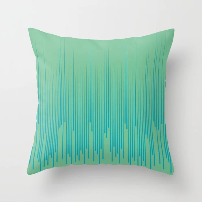 Aqua Blue and Green Frequency Line Art Pattern 2021 Color of the Year AI Aqua and Quiet Wave Throw Pillow