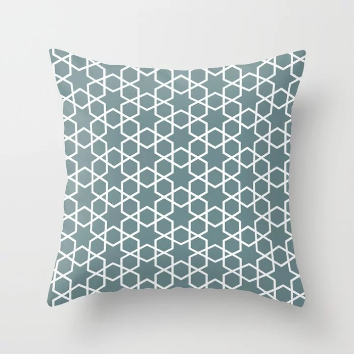 Muted Aqua and White Abstract Stars and Diamonds 2021 Color of the Year Aegean Teal Throw Pillow