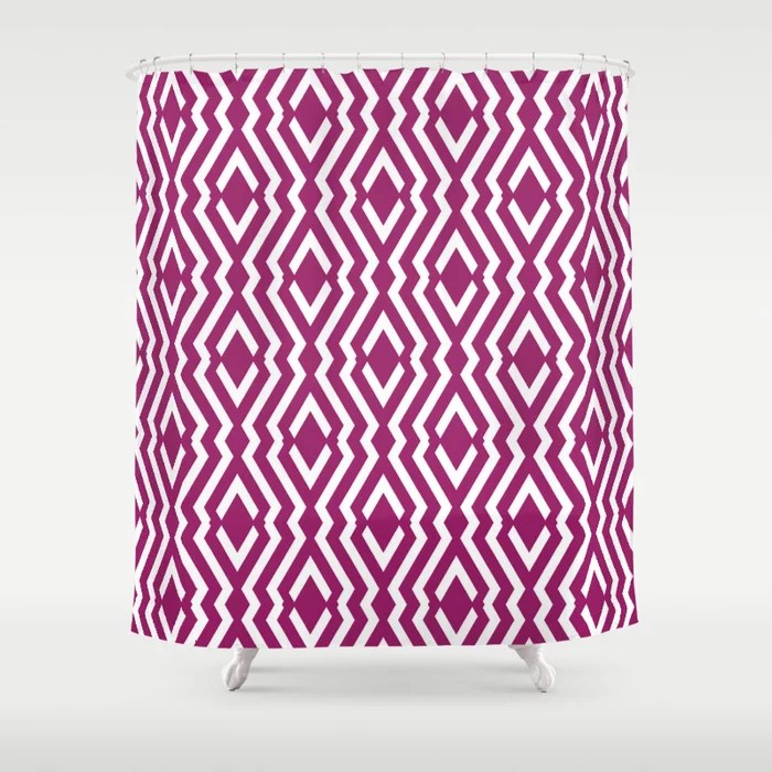 Magenta and White Diamond Zig Zag Ripple Pattern - Colour of the Year 2022 Orchid Flower 150-38-31 Shower Curtain - 2022 colour trends interior decorating fuchsia - purple - pink