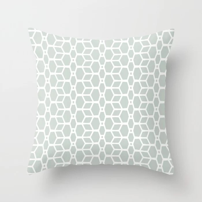 Mint Green and White Tessellation Line Pattern 4 Behr 2022 Color of the Year Breezeway MQ3-21 Throw Pillow. 2022 color scheme, trending interior design hue.