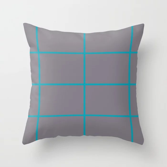 Blue-Green Gray Sponge Paint Thin Check Pattern 2021 Color of the Year AI Aqua 098-59-30 Throw Pillow