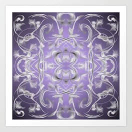 silver in purple Digital pattern with circles and fractals artfully colored design for house Art Print