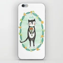 Tuxedo Cat with Flowers iPhone Skin
