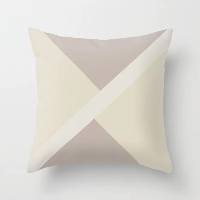 Neutral Tan Beige Off White Stripe Offset Pattern 2021 Color of the Year Accent Shades Throw Pillow