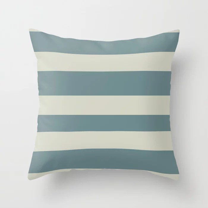Blue-Green Beige Minimal Horizontal Line Pattern 2021 Color of the Year Aegean Teal and Sweet Spring Throw Pillow