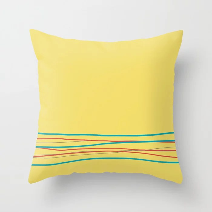 Yellow Aqua Gray Red Scribble Line Design Bottom 2021 Color of the Year AI Aqua and Accent Shades Throw Pillow
