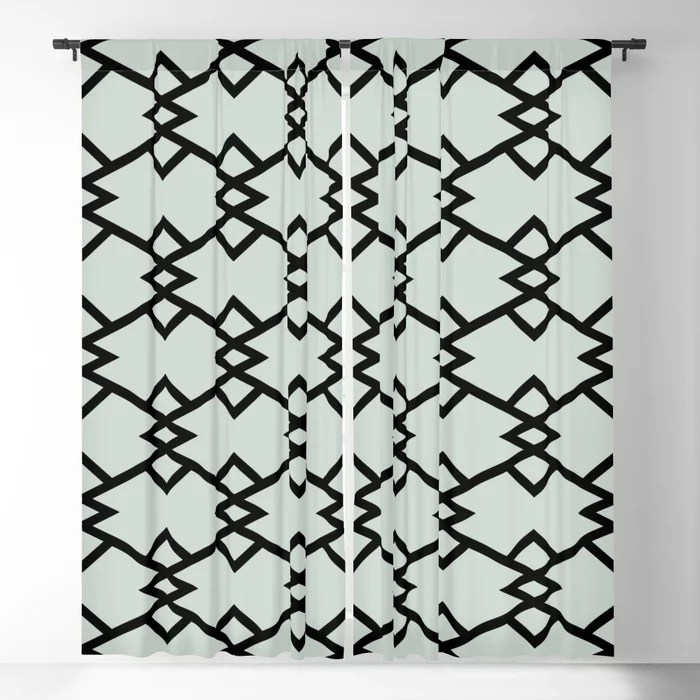 Mint Green and Black Tessellation Pattern 22 Behr 2022 Color of the Year Breezeway MQ3-21 Blackout Curtain. Spring/Summer 2022 color forecast