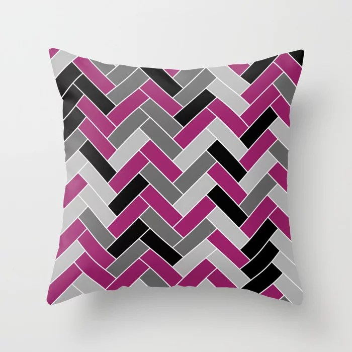 Magenta Gray Black and White Herringbone Pattern - Colour of the Year 2022 Orchid Flower 150-38-31 Throw Pillow
