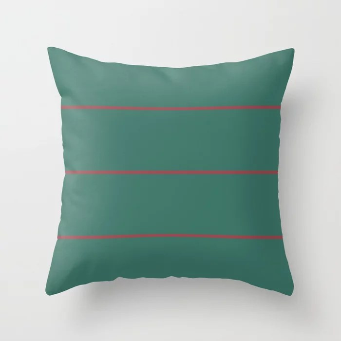 Red and Dark Green Abstract Stripe Pattern Pairs HGTV 2021 Color of the Year Passionate Throw Pillow