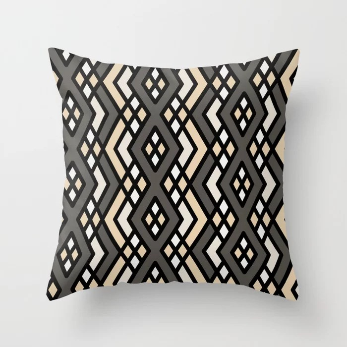 Neutral Abstract Shape Pattern 3 Throw Pillow Matches Sherwin Williams Paints 2021 Color of the Year Urbane Bronze and Accent Shades