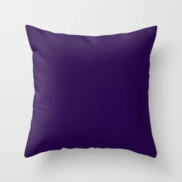 Deep Dark Grape Single Solid Color Pairs Rustoleum 2021 Color Of The Year Accent Shade Purple Throw Pillow