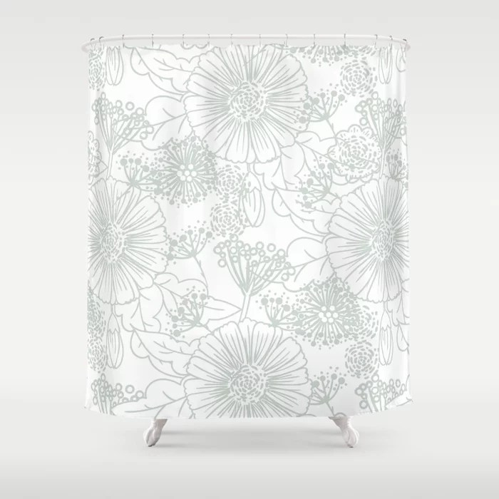 Pastel Green and White Hand Drawn Floral Pattern Pairs Behr 2022 Color of the Year Breezeway MQ3-21 Shower Curtain. 2022 color trend