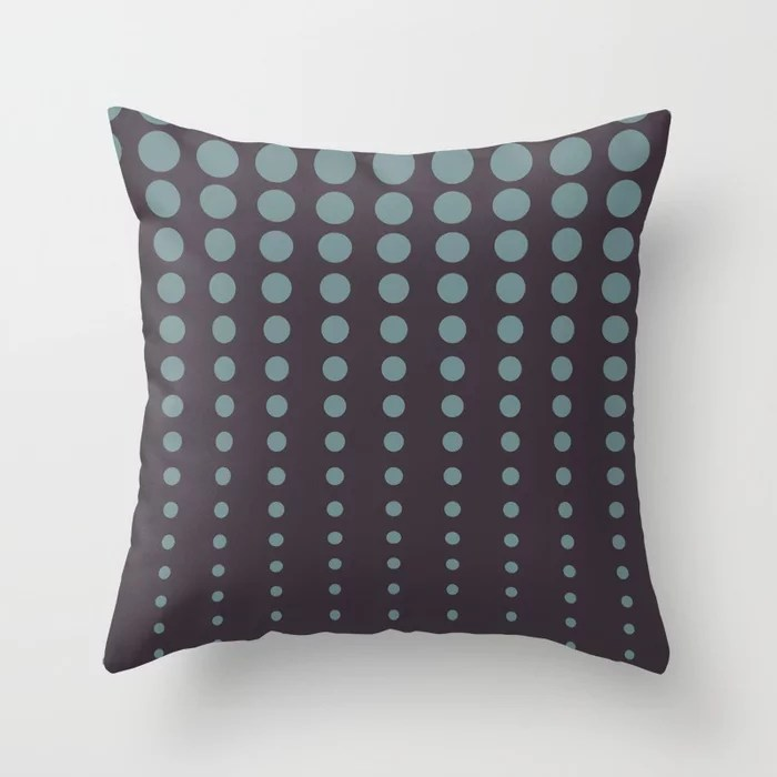 Blue-Green Purple Reduced Polka Dot Pattern V2 2021 Color of the Year Aegean Teal and Tulsa Twilight Throw Pillow