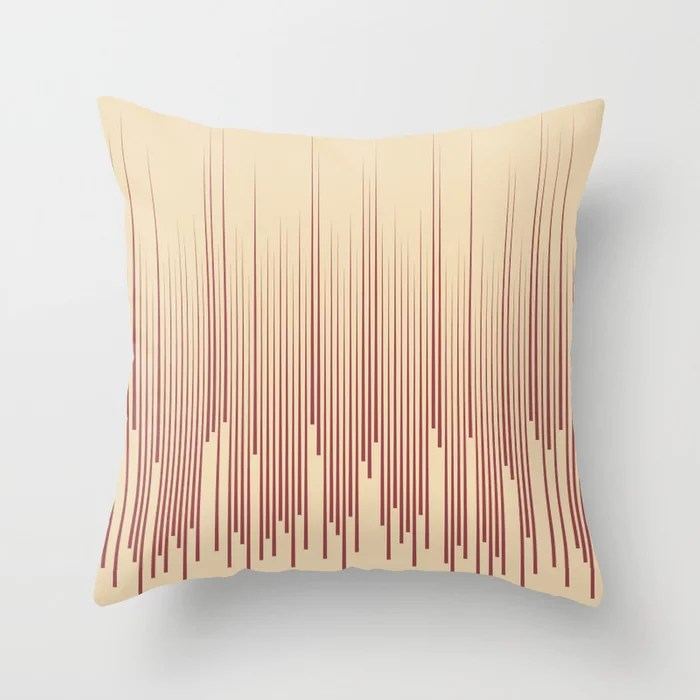 Red and Beige Frequency Line Art Pattern 2021 Color of the Year Passionate and Diamond Weave Throw Pillow