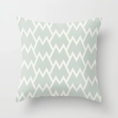 Mint Green and Cream Tessellation Pattern 18 Behr 2022 Color of the Year Breezeway MQ3-21 Throw Pillow. 2022 color scheme, trending interior design hue.