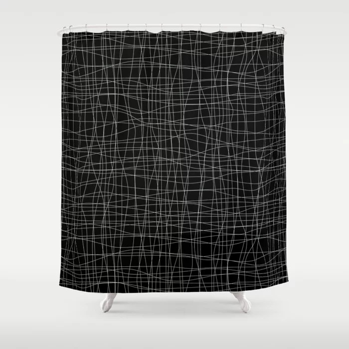 Pastel Green and Black Mosaic Grid Pattern Pairs Behr 2022 Color of the Year Breezeway MQ3-21 Shower Curtain. 2022 color trend