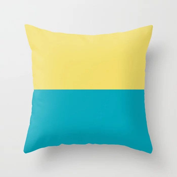 Aqua Blue Yellow Horizontal Stripe Line Pattern 2021 Color of the Year AI Aqua and Lemon Sherbet Throw Pillow