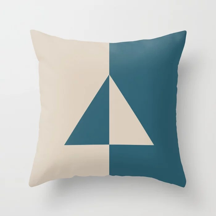 Light Beige Aqua Blue Minimal Triangle Design: Hues were inspired by and match (pair / coordinate with) 2021 Color of the Year Uptown Ecru & Deep Lagoon Throw Pillow