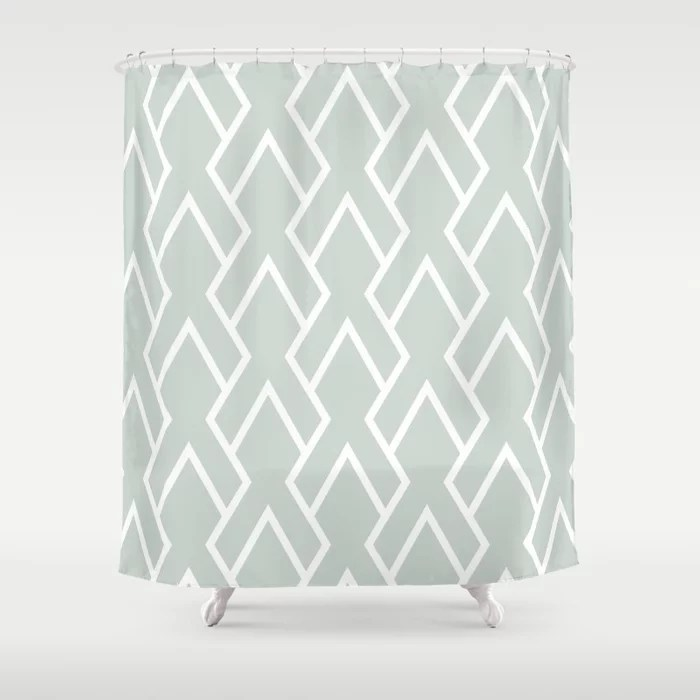 Mint Green and White Tessellation Line Pattern 6 Behr 2022 Color of the Year Breezeway MQ3-21 Shower Curtain. 2022 color trend
