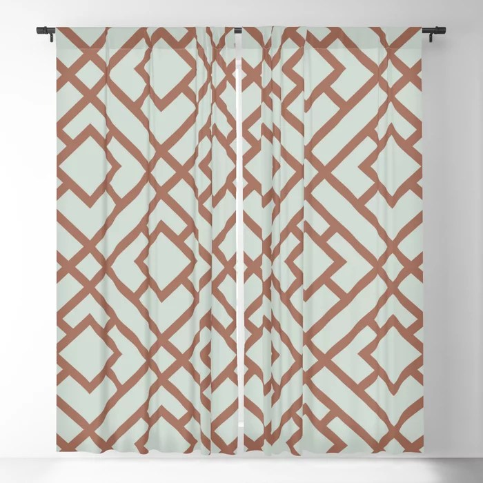 Mint Green and Terracotta Tessellation Pattern 24 Behr 2022 Color of the Year Breezeway MQ3-21 Blackout Curtain. Spring/Summer 2022 color forecast