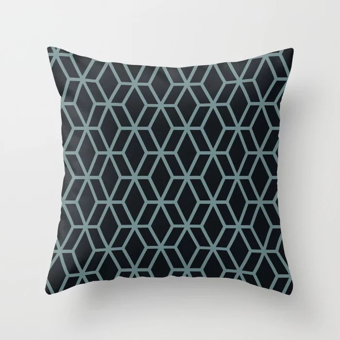 Aqua and Black Abstract Geometric Shape V2 Pairs 2021 Color of the Year Aegean Teal Throw Pillow