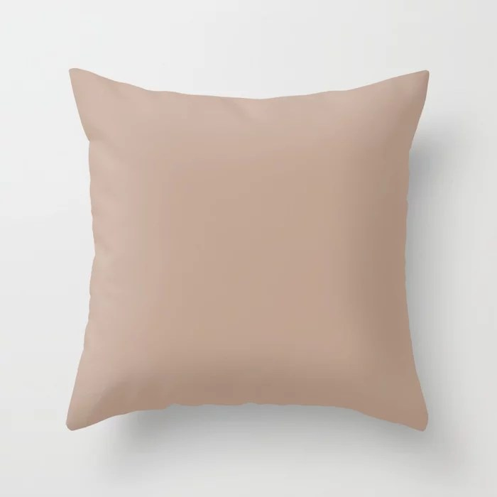 Neutral Luxe - Pink Taupe - Beige - Khaki Solid Color Pairs To Sherwin Williams Interface Tan SW 605 Throw Pillow