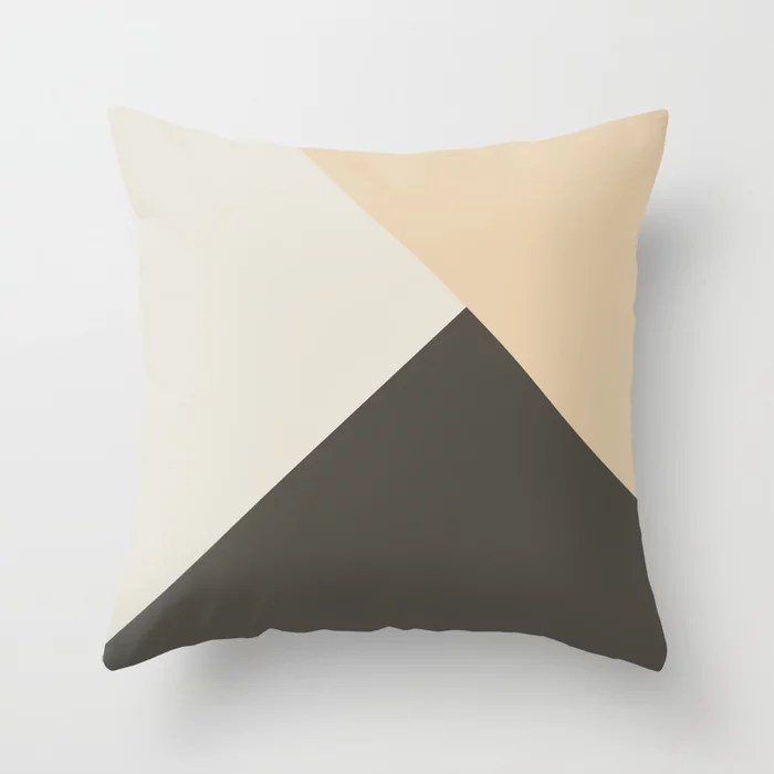 Tan Cream Brown Solid Color Abstract Pattern 2021 Color of the Year Urbane Bronze and Accent Shades Throw Pillow