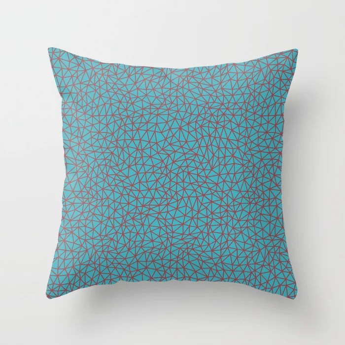 Red and Aqua Triangle Shape Pattern 2021 Color of the Year Passionate & September Skies Throw Pillow