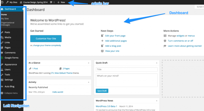 Screenshot of the WordPress Dashboard