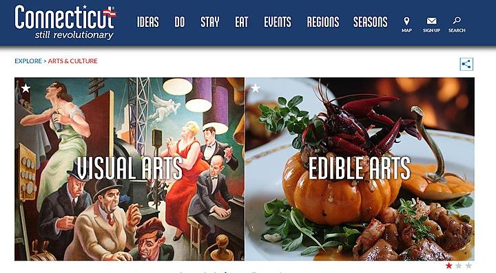 Screengrab of arts and culture website