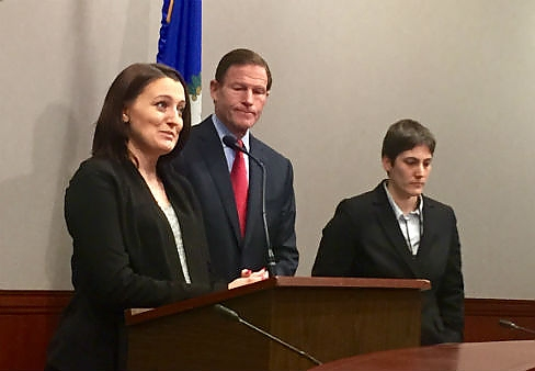 Joanna Eldridge, U.S. Sen. Richard Blumenthal, and Cindy Dubuque