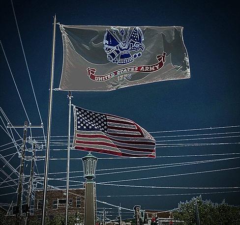 A U.S. Army flag and the U.S Flag on display (Sarah L. Hamby photo)