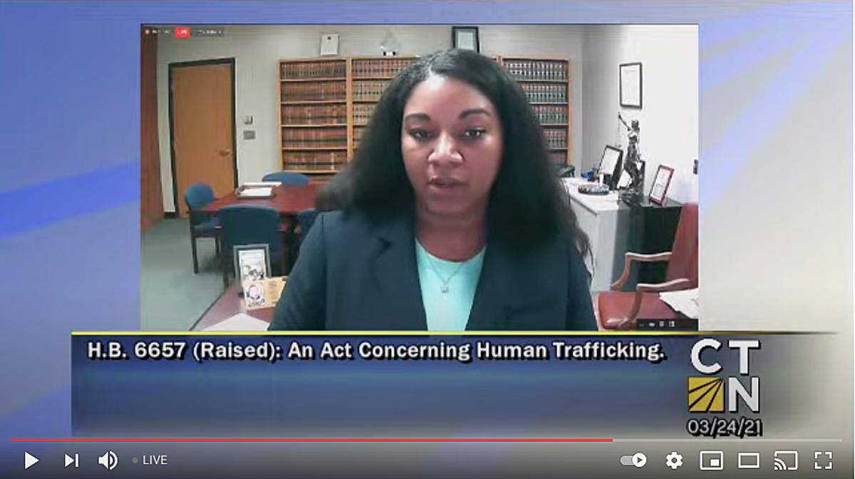 Image of Hartford State's Attorney Sharmese Walcott testifying Wednesday, March 24, 2021, before the Judiciary Committee on HB 6657, An Act Concerning Human Trafficking.