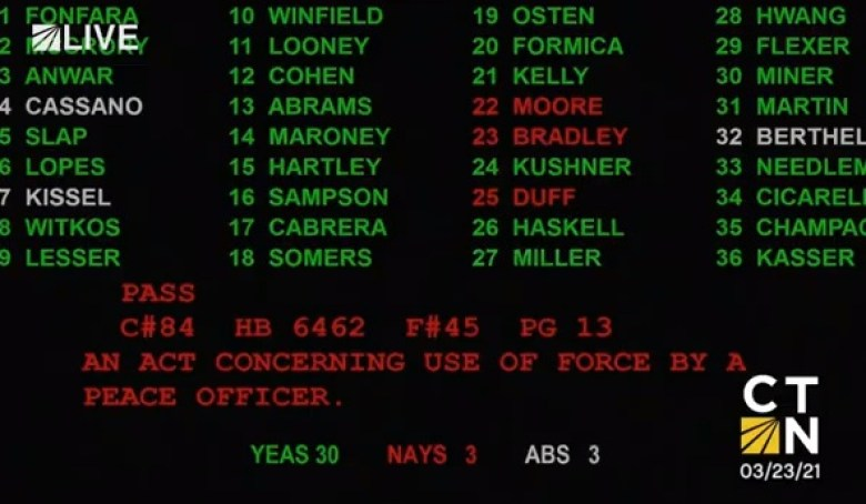 Screen grab of the Senate's vote on HB 6462 (Courtesy of CTN)