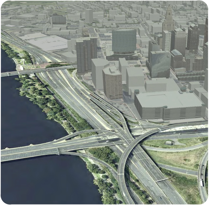 Image from the Hartford400 plan: An illustration of Interstates 84 and 91 on the Hartford side of the Connecticut River.