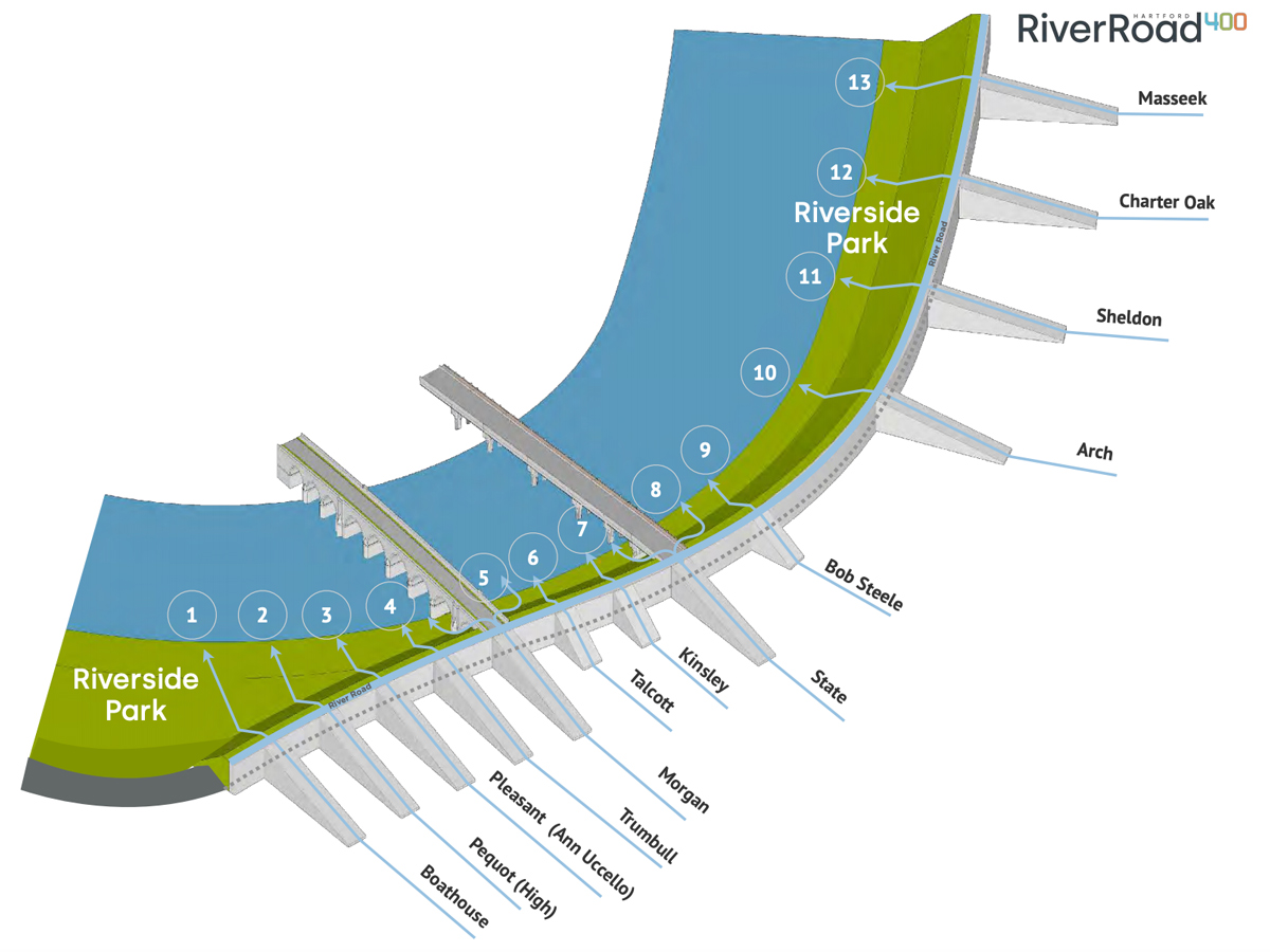 From the Hartford400 plan, an illustration of an expanded Riverside Park along the Hartford side of the Connecticut River.