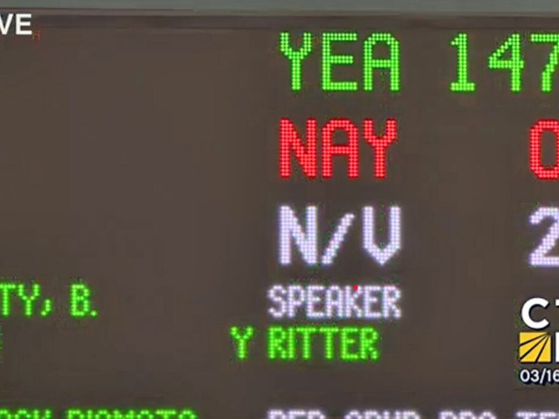 Screengrab of House vote tally on HB6555 courtesy of CTN