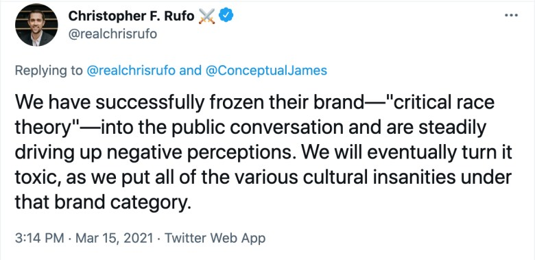 Tweet from Christopher F. Rufo