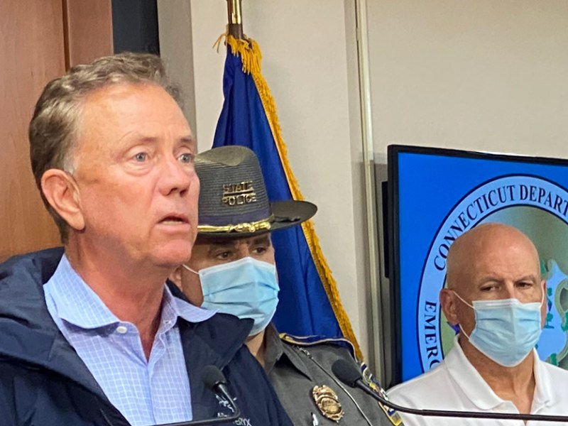 Gov. Ned Lamont and other state and federal officials discuss the impact of Tropical Storm Henri on Sunday, Aug. 22, 2021.
