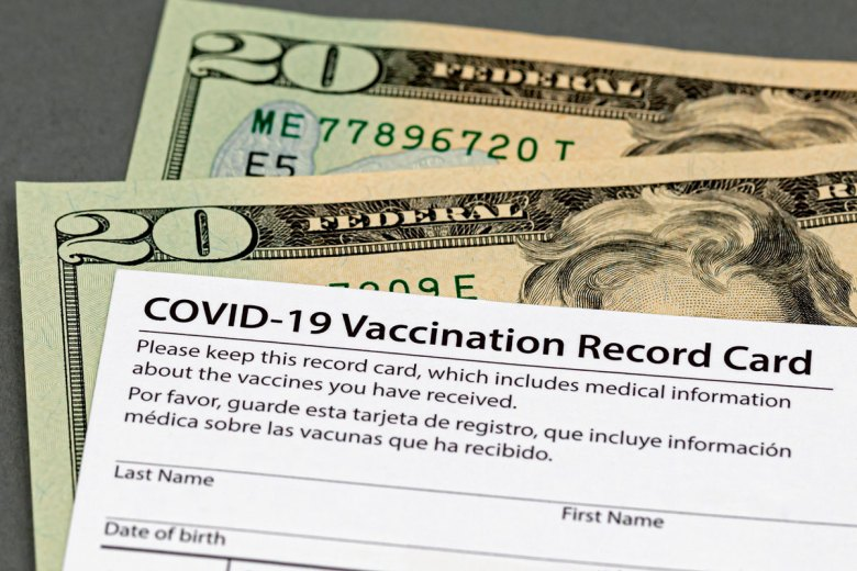 Vaccine card with money