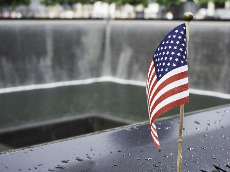 A US flag at the World Trade Center Memorial.
