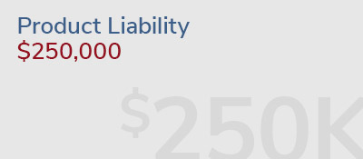 Graphic: product liability injury recovery of $250,000
