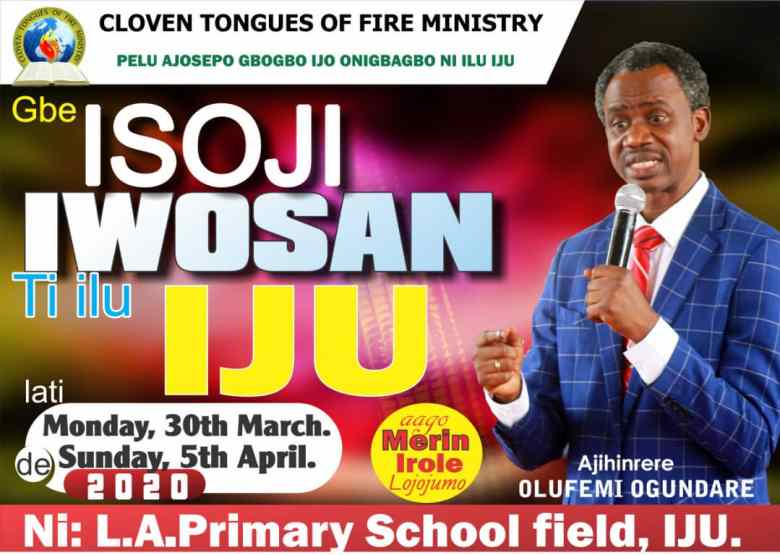 Iju Healing Crusade March 2020 Yoruba Flyer